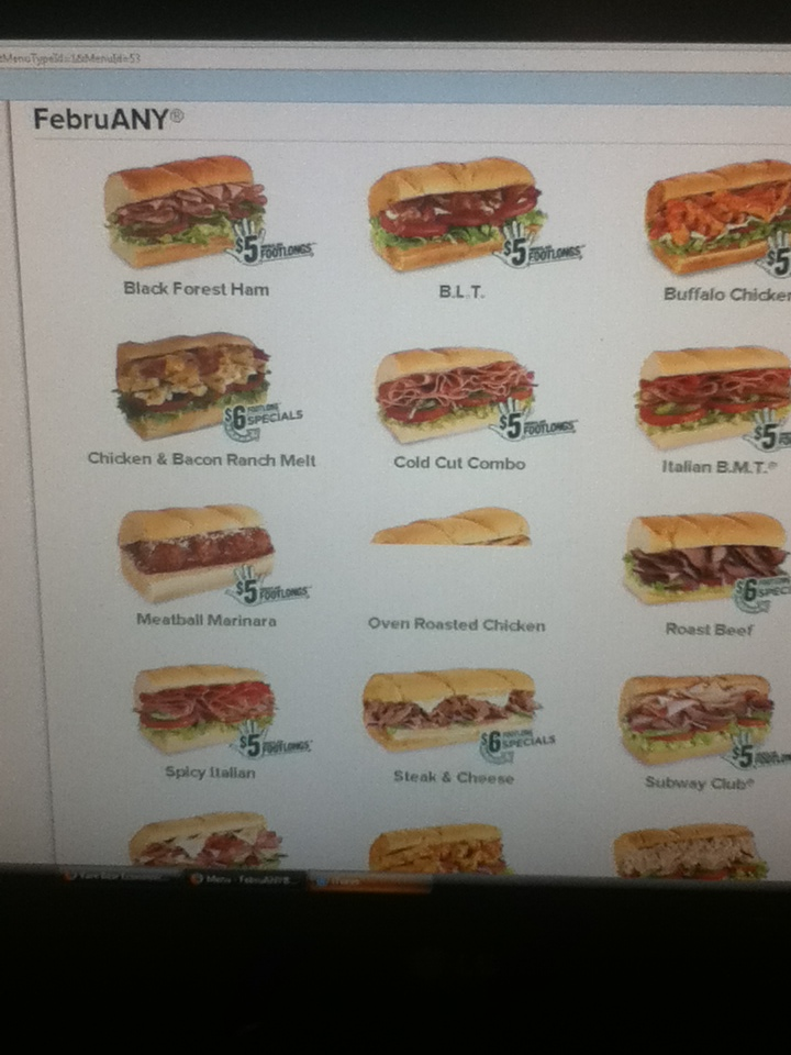 photo regarding Subway Menu Printable named 6 greenback subway menu : Belvedere houston club